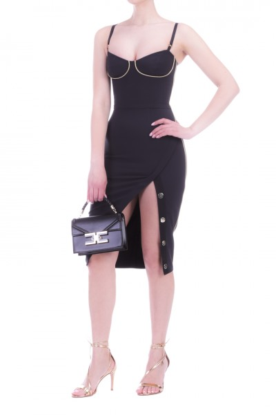 Elisabetta Franchi  Pencil dress wiht piping and buttons and slit AB21301E2 Nero