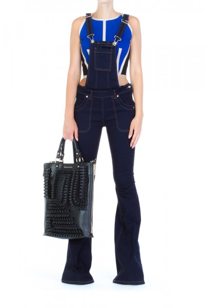 Mangano  Flared overall in denim A17PMNG00144