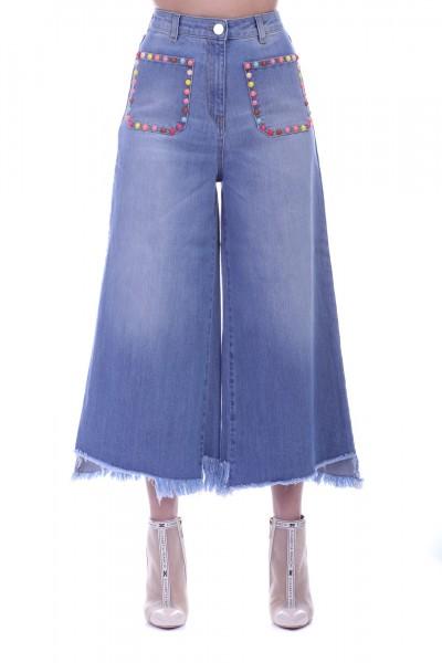 Elisabetta Franchi  Jeans palazzo crop con borchiette PJ21S91E2 Blue vintage