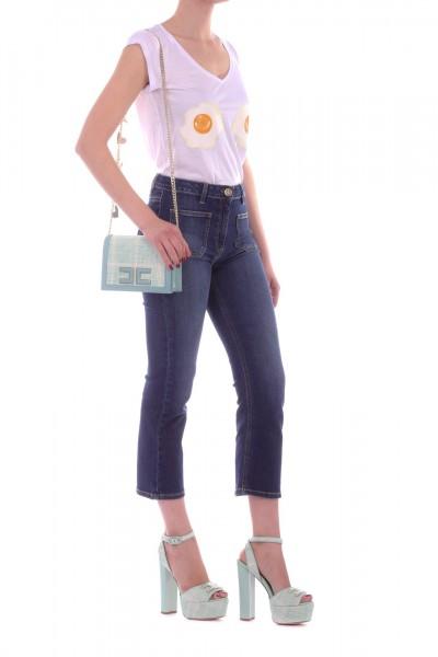 Elisabetta Franchi  T-shirt con stampa uova MA15195E3 Gesso