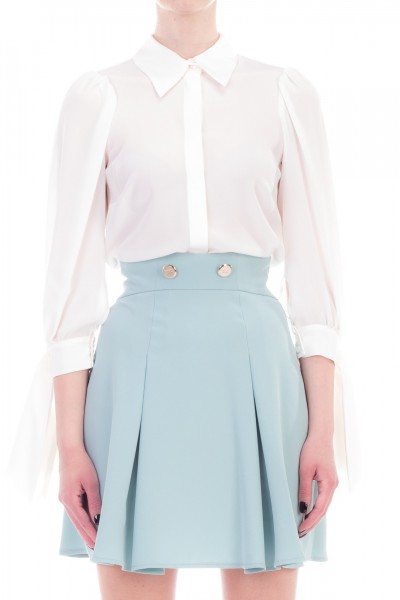 Elisabetta Franchi  Shirt with sleeves with ribbons CA20692E2 Avorio