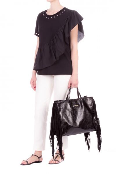 Twin-Set  T-shirt con volant e borchie 201MT2134 NERO