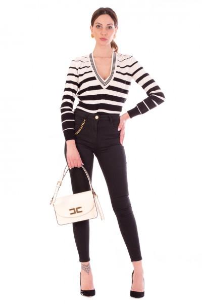 Elisabetta Franchi  Jeans skinny con catena e charm logo PJ03S11E2 Nero