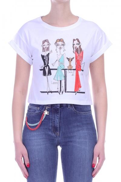 Elisabetta Franchi  T-shirt corta con Elisabetta e amiche MA01C91E2 Gesso