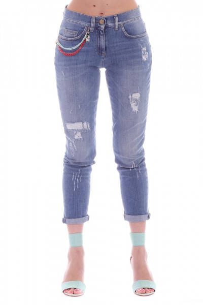 Elisabetta Franchi  Jeans destroyed con catene PJ14I91E2 Light Blue