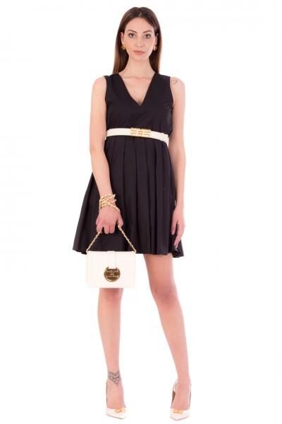Manila Grace  Mini abito stile impero plissettato A110CU NERO