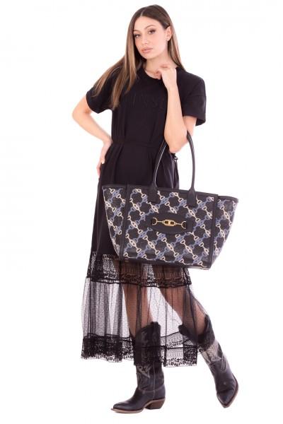 Twin-Set  T-shirt effect long dress with lace flounce 211TT2290 NERO