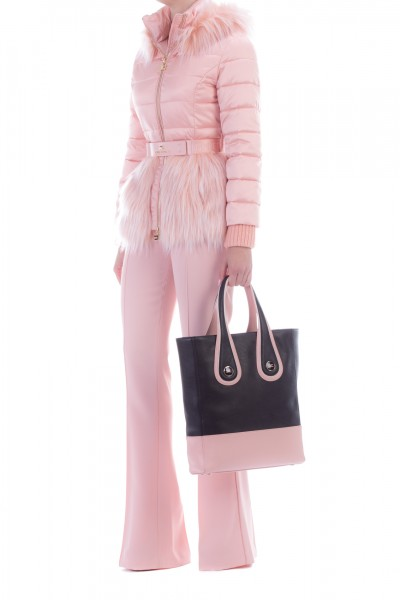 Elisabetta Franchi  Quilted jacket with fur and belt PI06H96E2 Rosa Antico