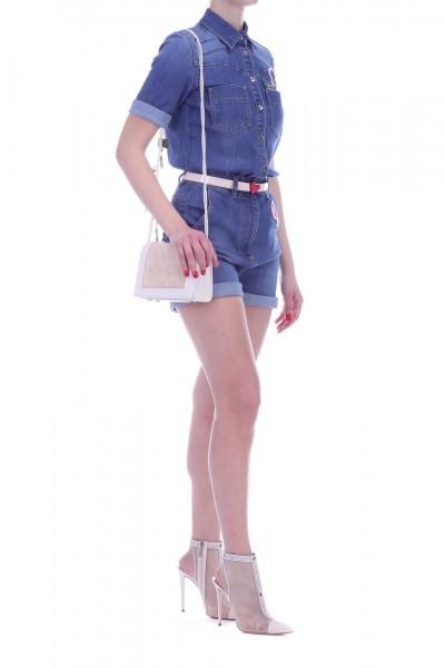 Elisabetta Franchi  Tuta di jeans corta con cintura TJ04S91E2 Blue vintage