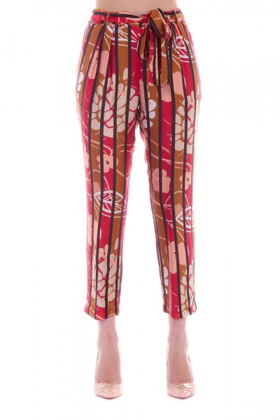 Manila Grace  Crop trousers with florand and stripes print P194VS CANNELLA