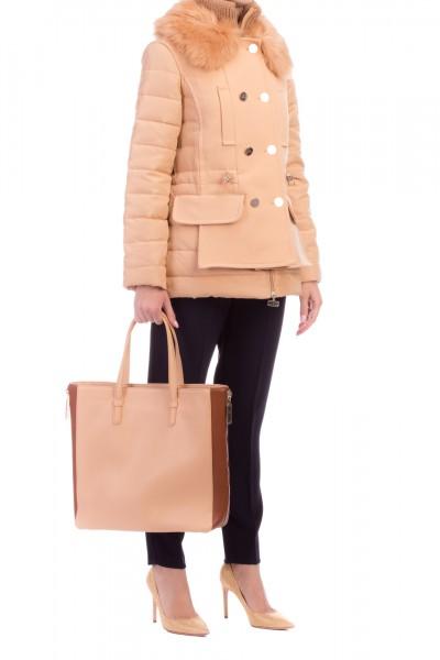 Elisabetta Franchi  Jacket with fur inserts PI08Z96E2 Caffelatte