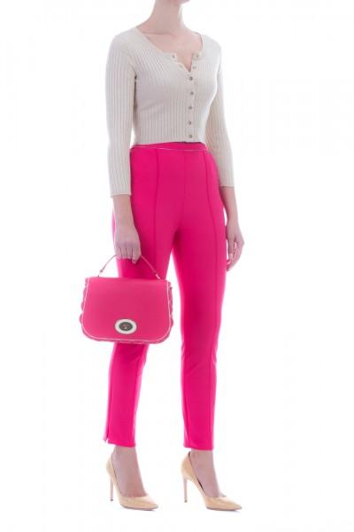 Elisabetta Franchi  Stretch cigarette trousers with piping PA32296E2 Fuxia