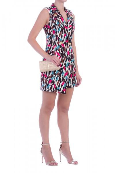 Elisabetta Franchi  Mini abito asimmetrico con stampa maculata AB09597E2 Burro/Giada