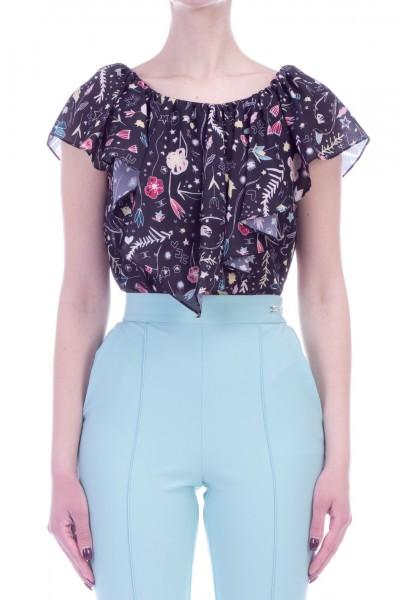 Elisabetta Franchi  Bodysuit with ruffle and floral print CB04591E2 Nero