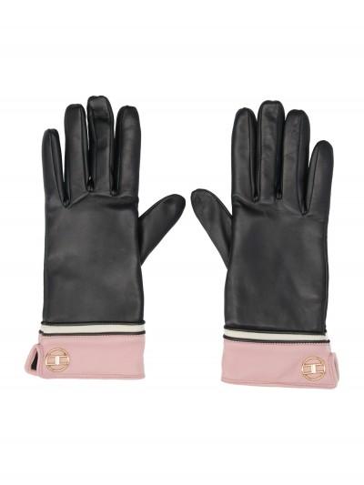 Elisabetta Franchi  Two-colour gloves with logo GU01R97E2 Nero