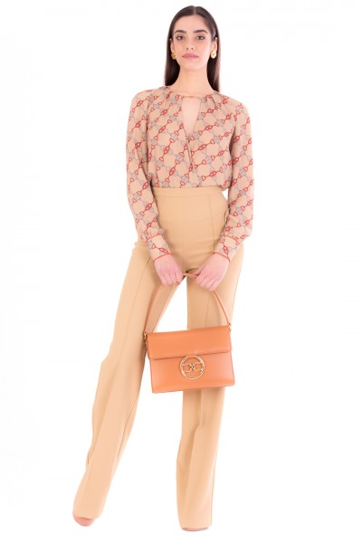 Elisabetta Franchi  Printed bodysuit blouse with accessory CB01611E2 Cammello