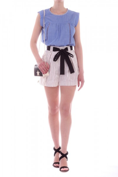 Manila Grace  Striped shorts with sash O564VI VAR.UNICA