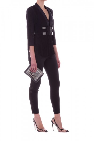 Elisabetta Franchi  Long jumpsuit with logo and fringes TU17892E2 Nero