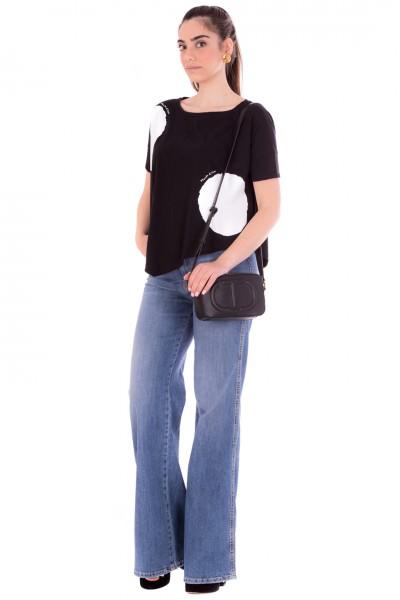 Manila Grace  T-shirt asimmetrica stampa maxi pois T067CU NERO