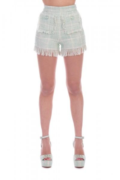 Elisabetta Franchi  Frayed shorts with pockets SH02591E2 Acquamarina