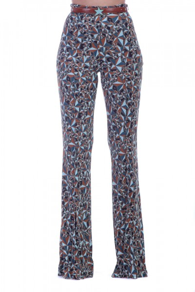 Elisabetta Franchi  Flared trousers with multi-tone stars and belt PA26991E2 Ottanio/Gianduia