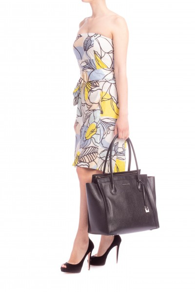 Manila Grace  BANDEAU ASYMMETRIC DRESS WITH BELT AND FLORAL PATTERN A520CF