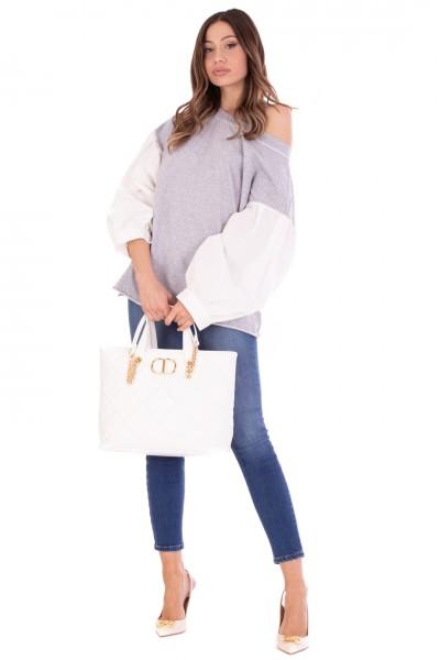 Elisabetta Franchi  Jeans skinny con catena e pendente PJ04S11E2 Blue Denim