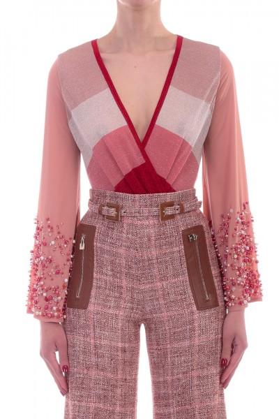 Elisabetta Franchi  Body in maglia multicolor con perline BK28L92E2 Burro/Carne/Peonia