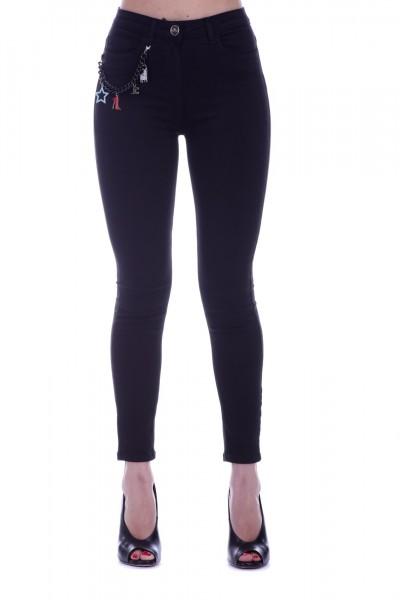 Elisabetta Franchi  Jeans con catena e ciondoli PJ25D91E2 Nero