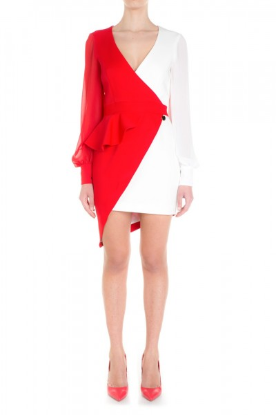Mangano  Two-tone asymmetric dress with ruffle P16PMNG00010