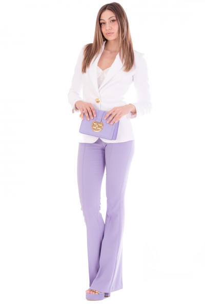 Elisabetta Franchi  Flared trousers with piping PA38411E2 Lavanda