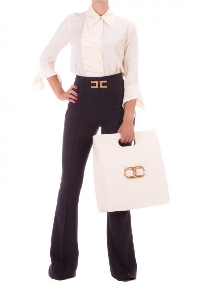 Elisabetta Franchi  Shirt with ruffle CA27506E2 Burro