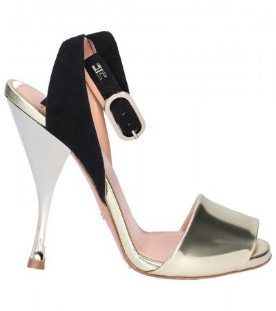 Elisabetta Franchi  Two-tone sandals in leather and suede SA25S92E2 Oro/Nero