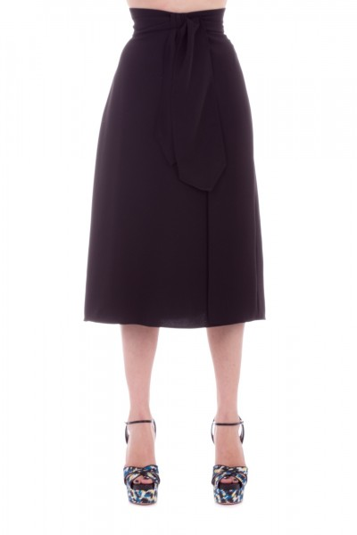 Elisabetta Franchi  Longuette skirt with knot at the waist GO19591E2 Nero