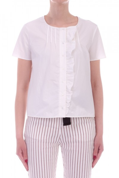 Manila Grace  Shirt with frill and printed insert Y638CS BIANCO OTTICO