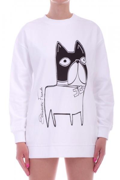 Elisabetta Franchi  Sweatshirt with bulldog print MD00891E2 Gesso