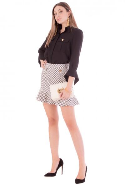 Elisabetta Franchi  Horse-bit print miniskirt with flounce GO44711E2 Burro/Nero