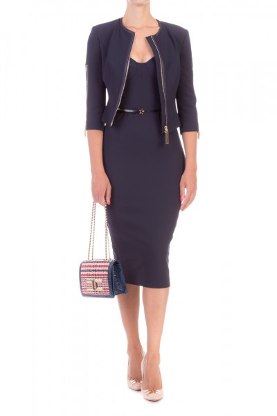 Elisabetta Franchi  Pencil dress with belt AB96496E2 Blu