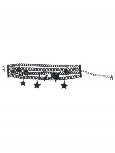 Elisabetta Franchi  Multi-chains bracelet with stars BC05A91E2 Nero