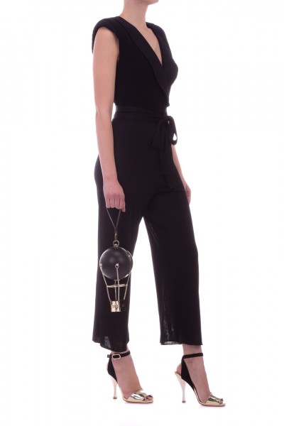 Elisabetta Franchi  Crop knit jumpsuit with sash KT06L92E2 Nero