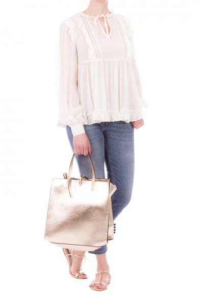Twin-Set  Blusa in georgette con rouches e pizzo 201TT2351 NEVE