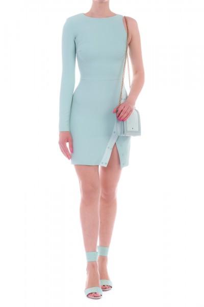 Elisabetta Franchi  One-shoudler minidress with leather insert AB71392E2 Acquamarina