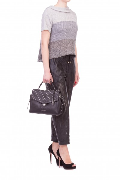 Manila Grace  TROUSERS IN PERFORATED FAUX LEATHER P309EU
