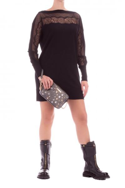 Twin-Set  Knit ini dress with lace inserts 202TP3380 NERO
