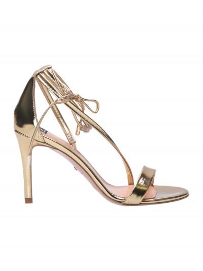 Elisabetta Franchi  Sandali laminati con lacci alla caviglia SA03F02E2 Oro light