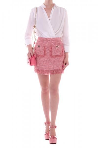 Elisabetta Franchi  Dress with bouclè fringed miniskirt AB18795E2 Peonia/Avorio