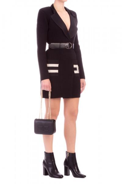Elisabetta Franchi  Knit dress with maxi pockets and belt AM47L96E2 Nero/Burro