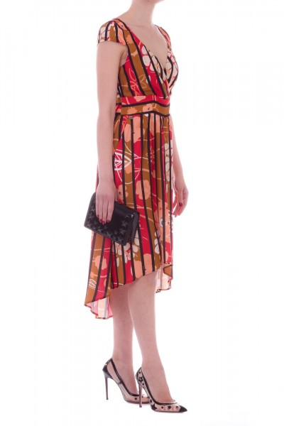 Manila Grace  Striped dress with floral print A196VS CANNELLA