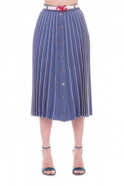 Elisabetta Franchi  Gonne plissettata in denim con cintura GJ02D91E2 Blue vintage