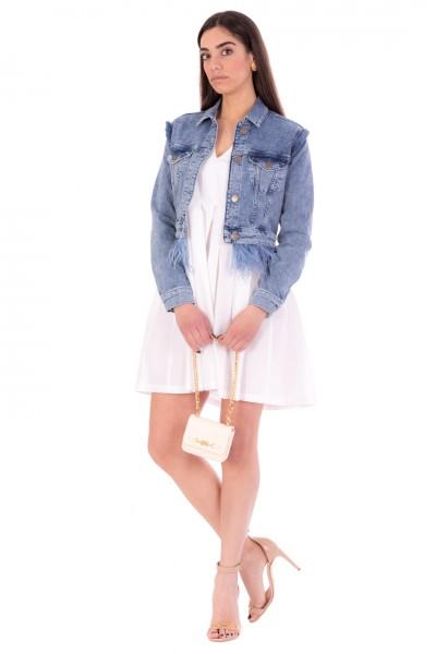 Manila Grace  Mini abito stile impero plissettato A110CU BIANCO